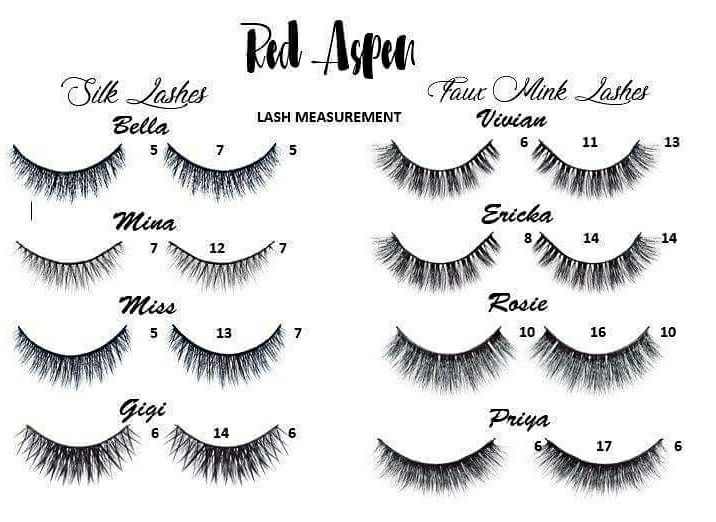 4ab8bbc6b9e Here is the measurement for all of Red Aspen's lashes. Which are your  favorites? Redaspenlove.com/veronicagillet #redaspen #redaspenlove #lashes
