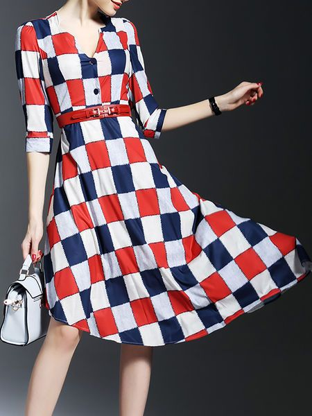 Asymmetric Checked #Midi #Dress with Belts
