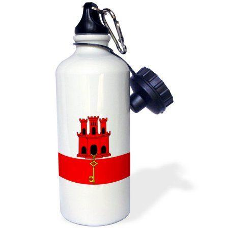 3dRose Gibraltar Flag, Sports Water Bottle, 21oz
