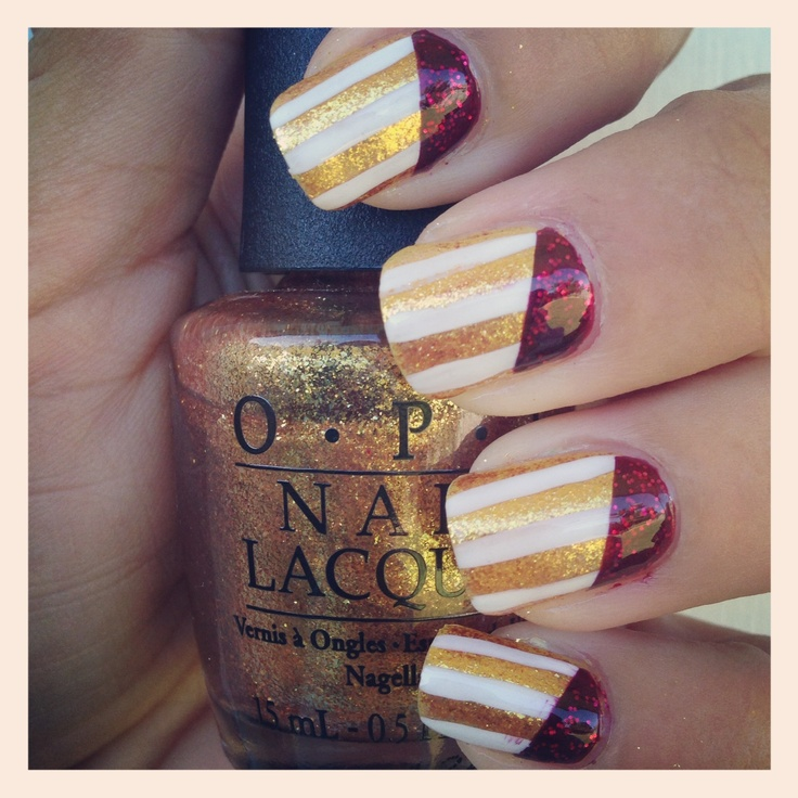 State of Origin Nail Art QUEENSLANDER :)  I used OPI Goldeneye  Essie Leading Lady!