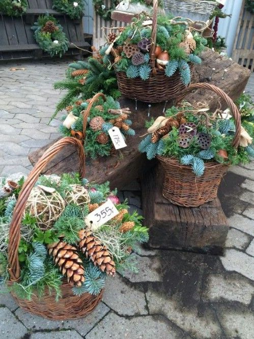 Pinecone And Evergreen Basket Planters