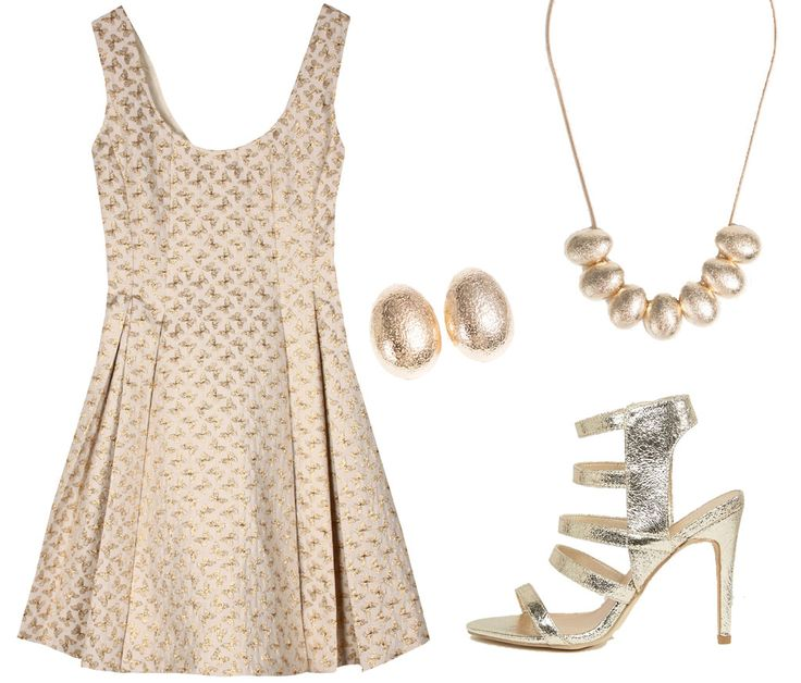 5 looks para ser la invitada perfecta. Beige and gold printed dress+gold heeled sandals+gold earrings+gold neclace. Summer Wedding Guest Outfit 2017