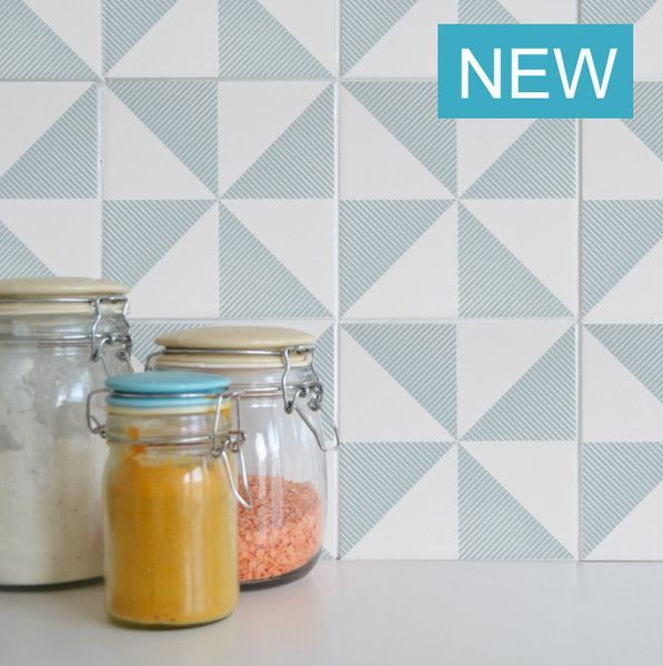 Wall tile 'tattoos' - stick to existing tiles and are removable. Perfect for a geometric kitchen.