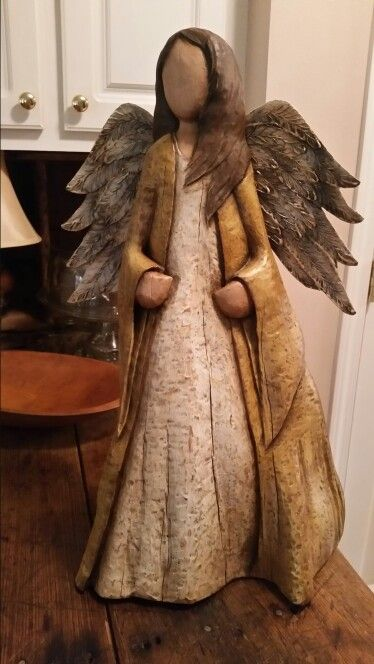 Wall angel carved from cyprus  Still carving and painting  Pottery angels Wood crafts Wooden