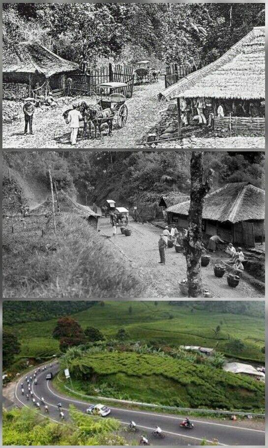 Poentjak Pass : De eerste geeft de Grote Postweg weer in de 19e eeuw, de middelste in de 20e eeuw en de laatste hoe het er nu uitziet.