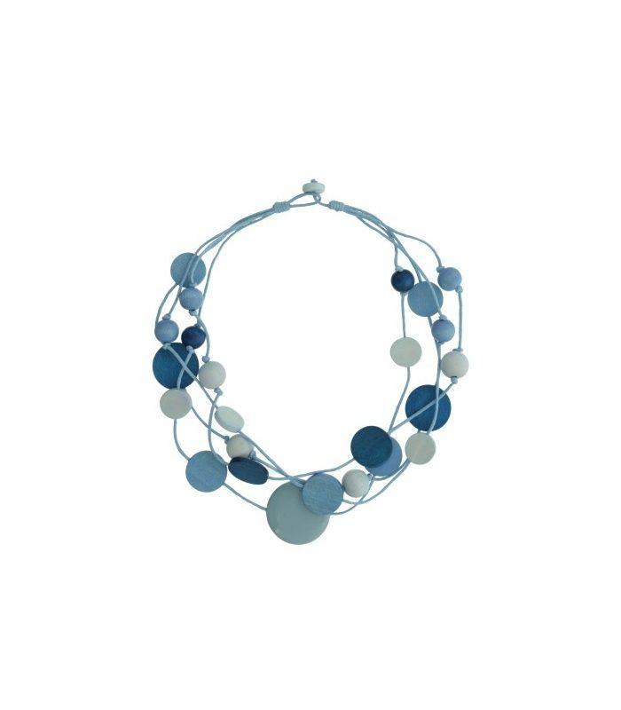 Blauwe halsketting met houten kralen Lengte van de halsketting is: 58 cm