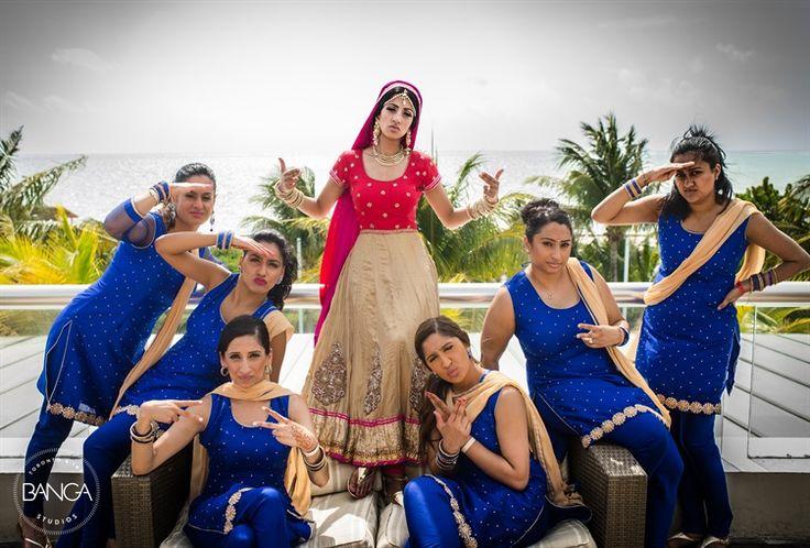 love the bridesmaids poses | Indian Sikh Wedding | Banga Studios