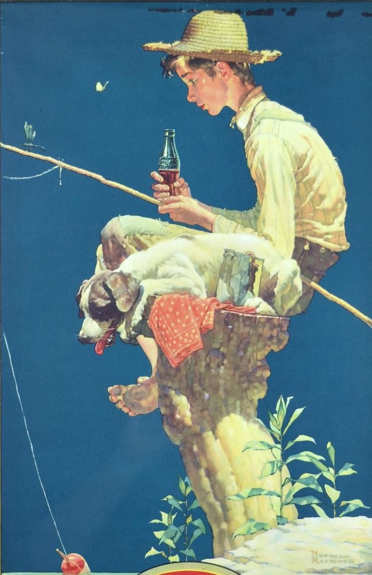 Norman Rockwell Out Fishin 1935 Coca Cola Calendar