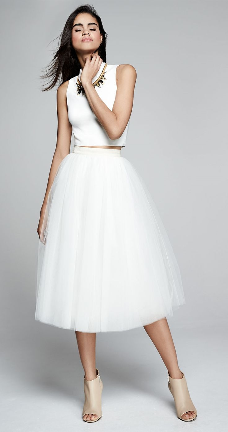 Because bellerinas are always in style—Elizabeth and James Avita Cropped Ponte Top & Everleigh Tulle Circle Skirt