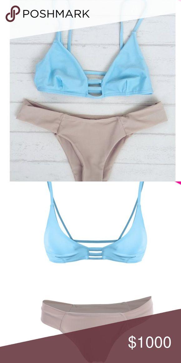 🆕 Arrival 🍭🍭 Cheeky bikini set Super Cute Blue and Beige Bikini set. Available in Sizes Small and Medium.  The top is not padded. ✅same or next day shipping ❌trades Swim Bikinis
