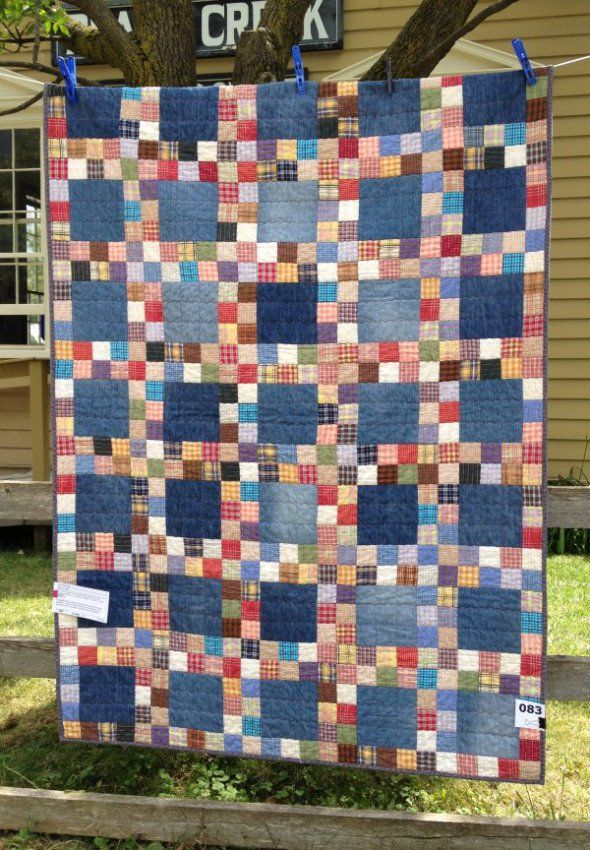 Quilt Inspiration ~> Country Plaids by Judy Messenger from jmstitching Denim + Scrap Plaids from Repurposed Shirts = Wonderful Easy Quilt!