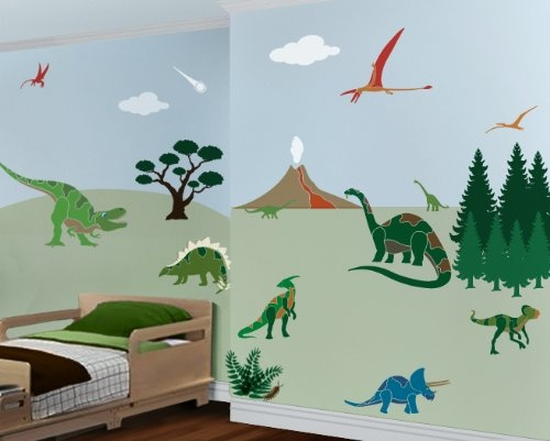Get Lost In The Imaginative Designs In Our Dinosaur Days Mural Stencil Kit