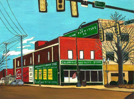 Greenville Army Navy Store by anythingbutmath on Etsy, $20.00 South Carolina art