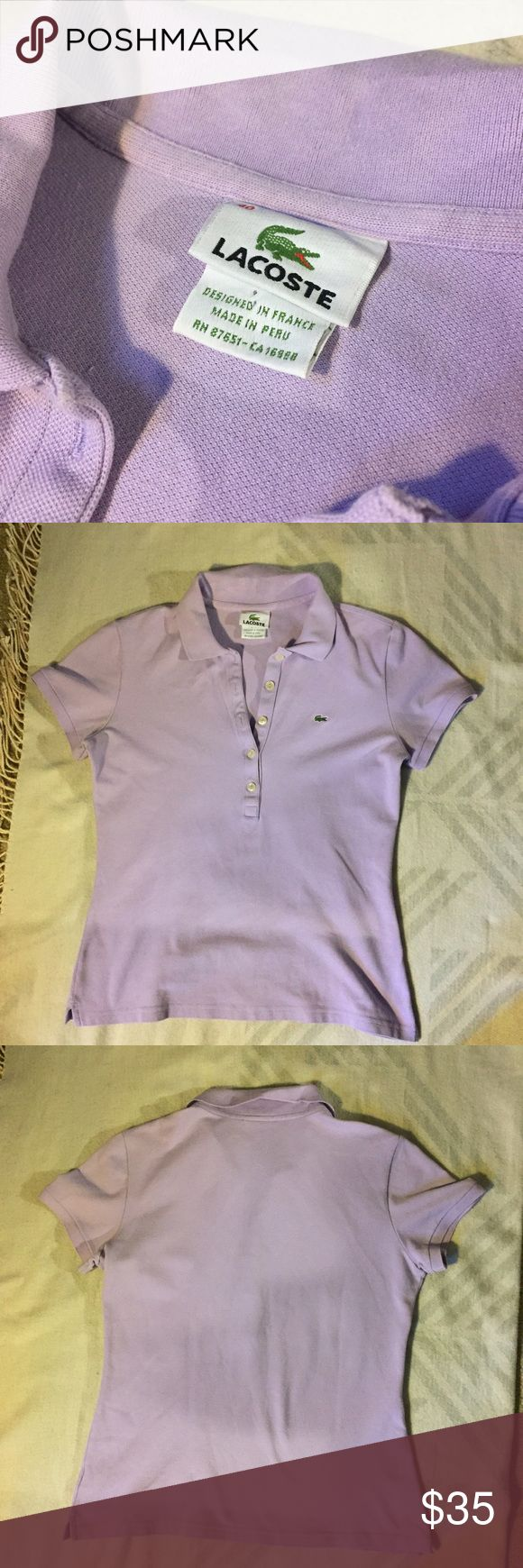 LACOSTE LAVENDER POLO A lavender polo by Lacoste is gently preloved condition. Minimal signs of wear. A classic top Lacoste Tops Tees - Short Sleeve