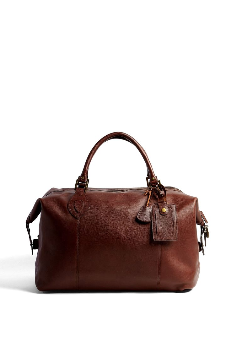 Chocolate Leather Weekend Bag by Barbour