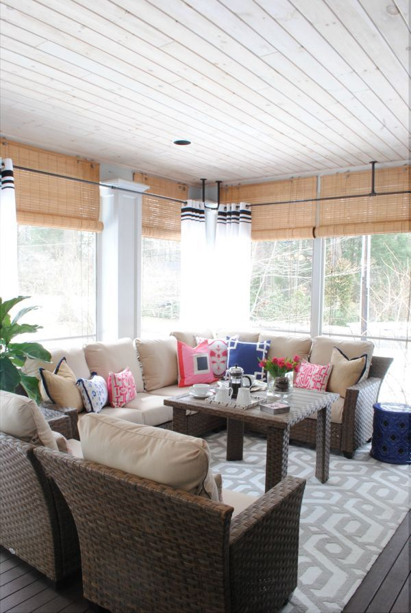 The Tobago Outdoor Collection, outdoor curtains and a patterned rug turn this screened in porch into an outdoor living room. See how Jennifer Bridgman of The Chronicles of Home made sure this would be a three-season porch... on The Home Depot Blog. || @chrniclesofhome