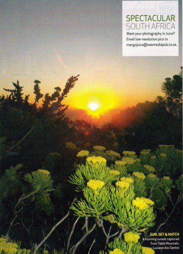 Sunset on Table Mountain. My work was published in the Mango Airline Magazine - Juice.