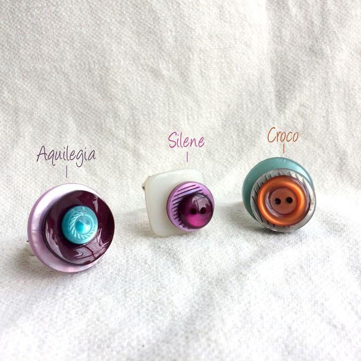 Anello regolabile con bottoni vintage colorati| Anello regolabile| Bottoni vintage| Pezzo unico|Idea regalo |primavera : Anelli di paperart-roma