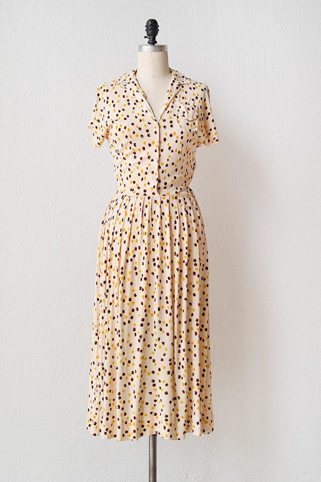 Vintage 1940s yellow brown dot dress [Ponte Dots Dress] - $168.00 : ADORED | VINTAGE, Vintage Clothing Online Store