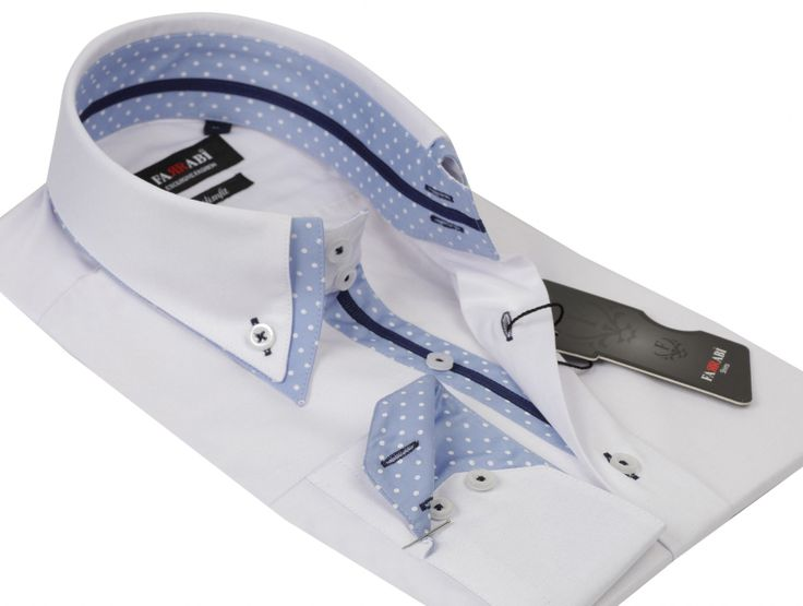 F7 White/Blue Shirt | Farrabi Slim Fit | Exclusive Luxury Shirts