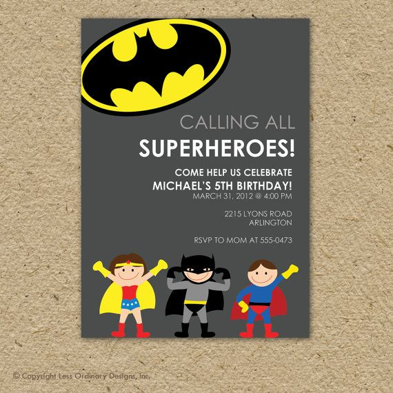 There are so many cute superhero invitations. | How To Throw The Most Awesome Superhero Party Ever