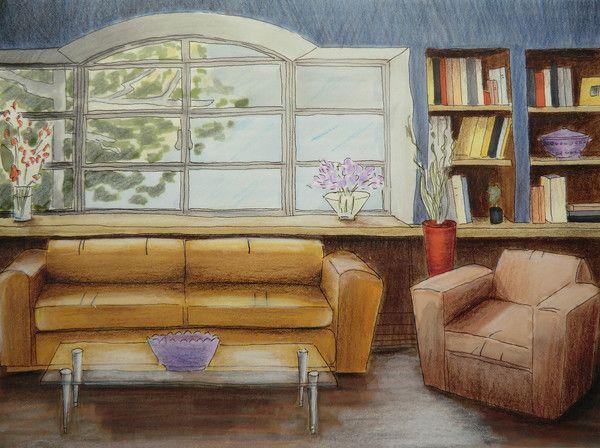 Sketch interior perspective. Painting watercolor — Stock ...  |Interior Design Color Sketches