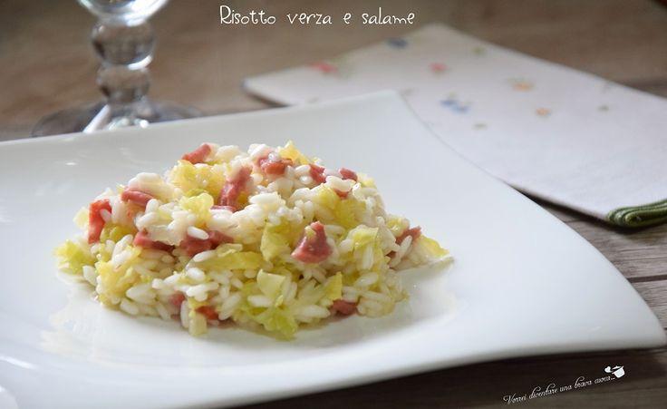 Oggi prepariamo un buonissimo risotto verza e salame, un piatto piacevole e sfizioso, assolutamente da provare, facilissimo da preparare!