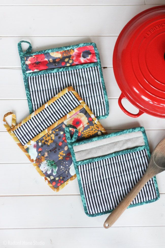 Learn How to Sew a Simple Potholder for Your Kitchen! This basic design is quick and easy, so you can actually use the potholders to handle hot food!