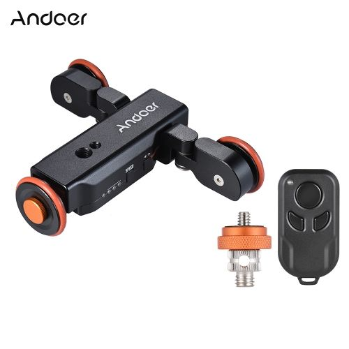 Buy best black Andoer L4 Autodolly 3 Speed Adjustable with Wireless Remote Control/ 1800mAh Rechargeable Battery Electric Motorized 3-Wheel Pulley Car Slider Rolling Skater for Canon Nikon Sony DSLR Camera for iPhone X 8 7 7 plus 6 plus Smartphone for GoPro 5/4/3+/3 Action Camera Time Lapse/Low Angle/Macro Video Shooting Photography from Tomtop.com. Cheap Video Camera Slider & Dolly online, various discounts are waiting for you