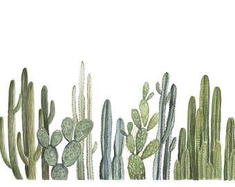 Row of Cactus Print - cactus painting - cacti - cactus watercolor - home decor painting - southwestern painting - greenery - cacti art