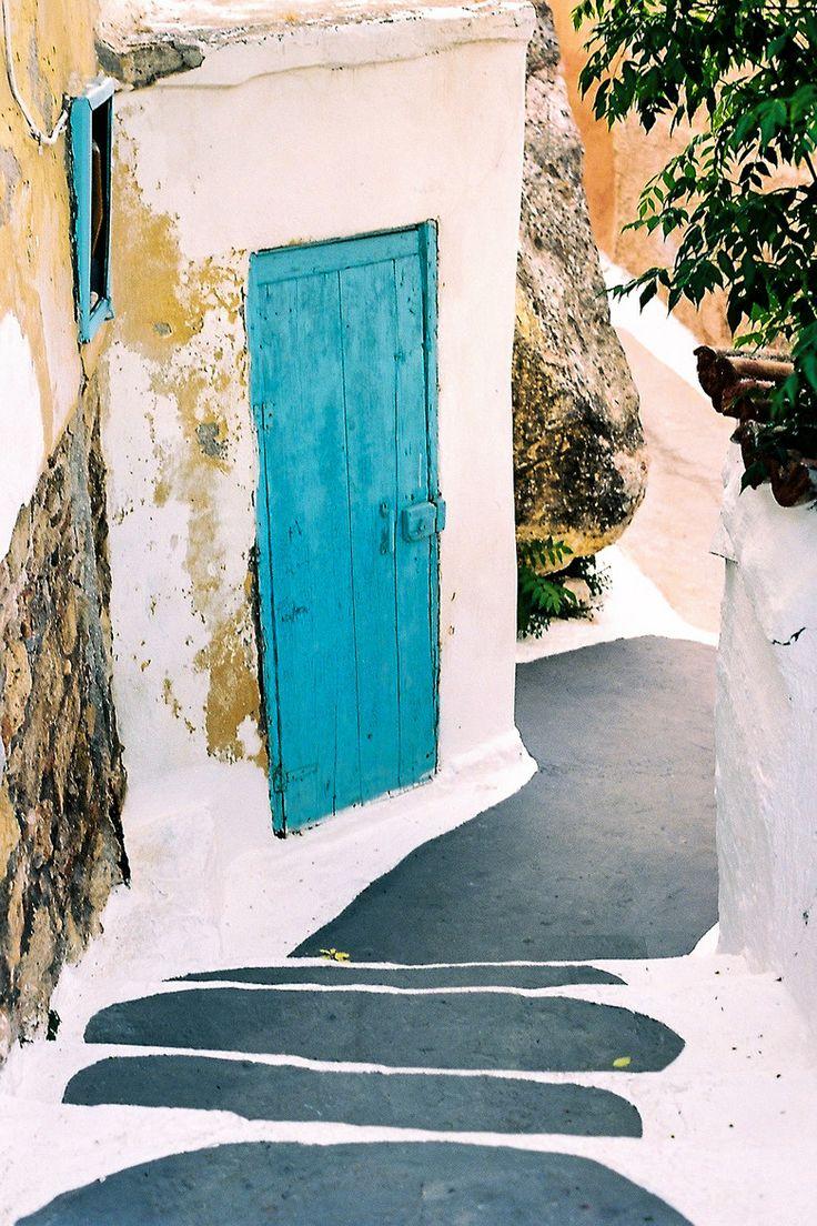 Blue Door in Anafiotika - Athens #architecturalhardware #architecture www.motherofpearl.com