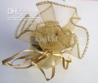 Gold Round Organza Gift Bag Wedding Favor Party 25cm Diameter New Gift Box Wedding Gift Card Box For Wedding From Kisskid, $9.55| Dhgate.Com