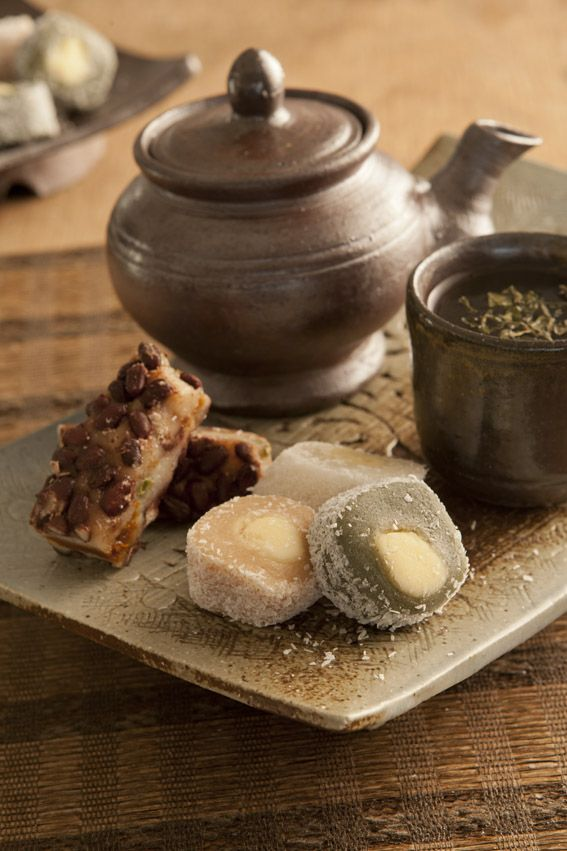 Korean Food - Rice cakes with green tea  Warm and sweet!
