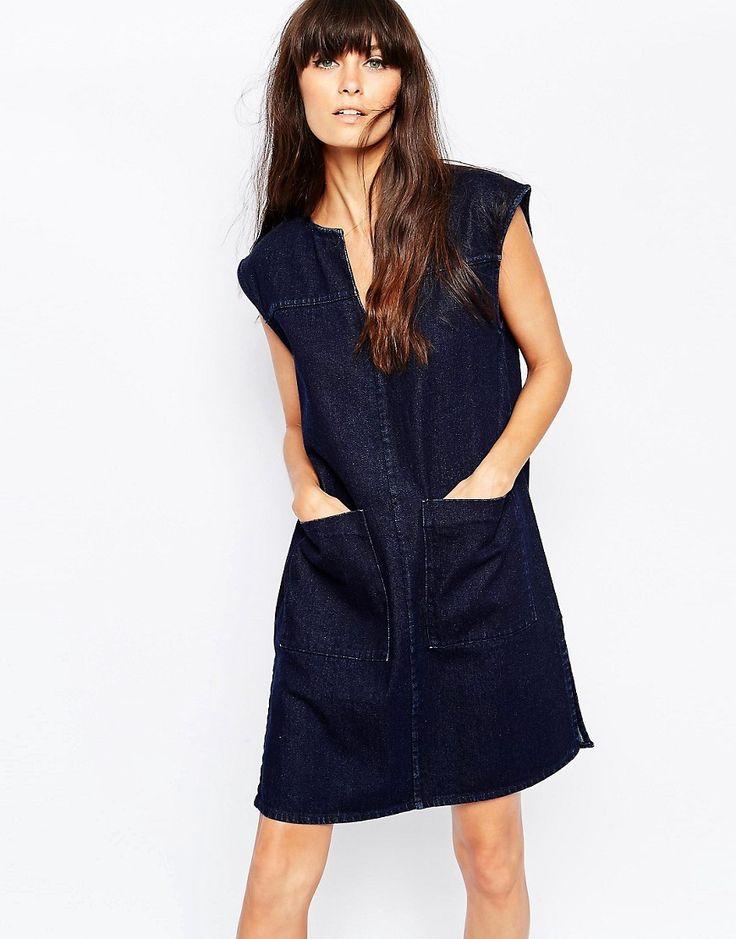 Image 1 ofWaven Oversized Sleeveless Denim Shirt Dress With Front Pockets