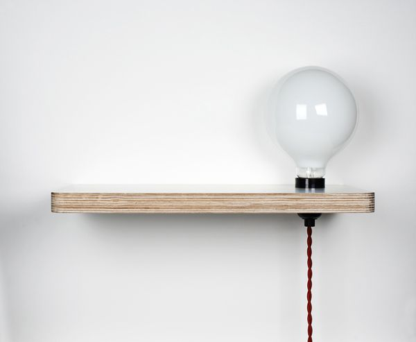 - Tiny shelf (bedside table?!) with integrated light - Ledge Lamp by Stefi Orazi Studio @ Thing You Can Buy - #SmallSpaces
