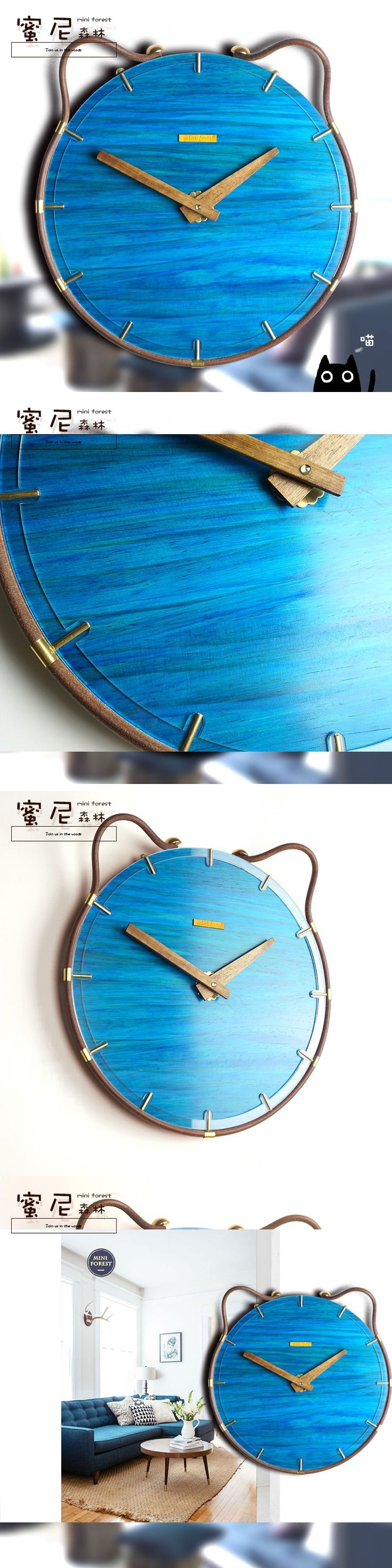 Mediterranean style Cat wood clocks Living Room Art Shepherd Personalized Creative Mute Clock rustic clock home decor 12 inch $59.3