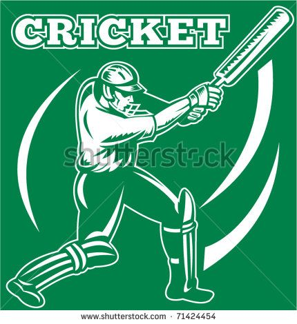 vector illustration of a cricket sports player batsman silhouette batting - stock vector #cricket #retro #illustration