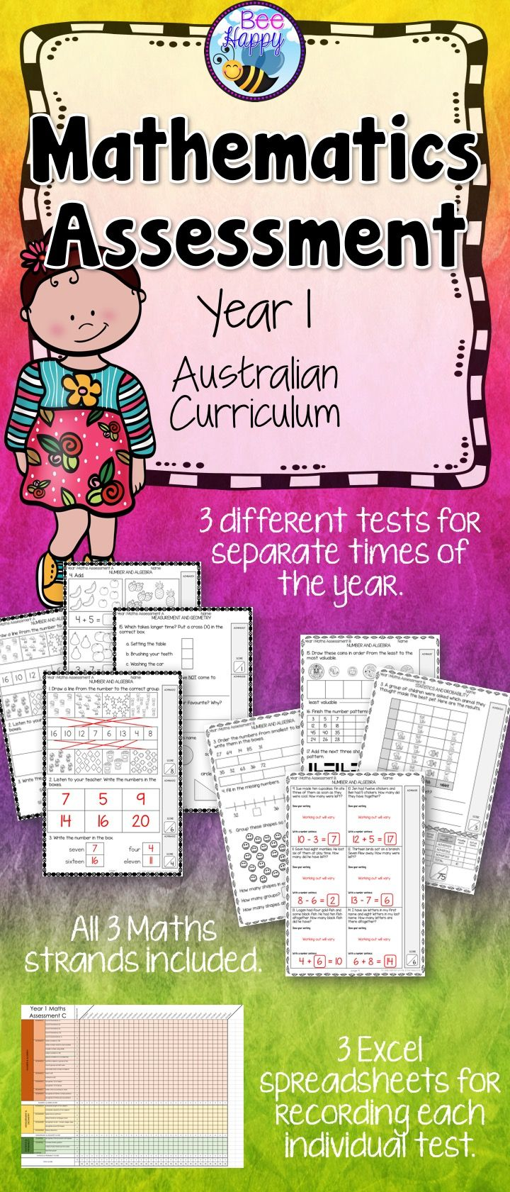 These Maths tests, for year one students, are linked to the Australian Curriculum. They cover Number & Algebra, Measurement & Geometry and Statistics & Probability. This package includes three assessments that will help to provide data that can be used to inform judgements of student achievement at different times of the school year.