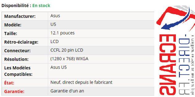 Asus U5 Dalle Ecran 12.1 LCD Prix: 94,00 € - Dalle Ecran pour pc / ordinateur portable Asus U5 12.1 LCD de remplacement  #dalleecran #b156xw02v6 #ltn173kt02 #ecranportable  #dalletoshibasatellitec660