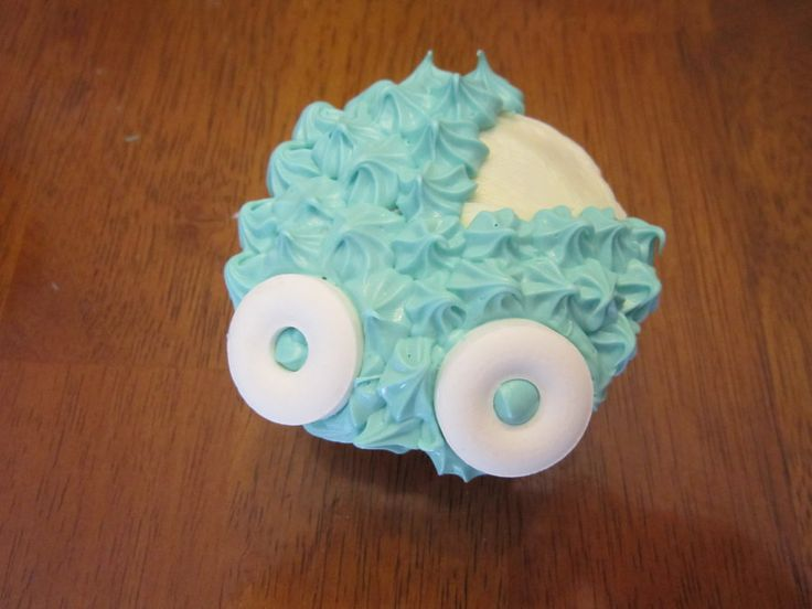 baby shower cupcakes baby carriage boy by angel of tricks on