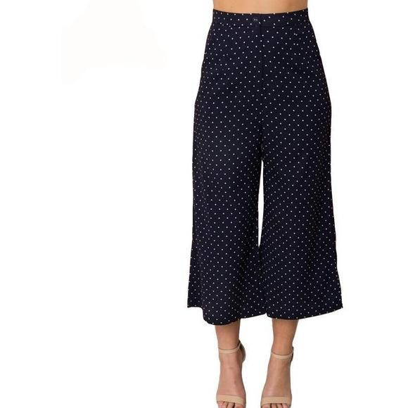 8d1beffb634683 Navy Blue Polka Dot Wide Leg Ankle Pants - Trendsology | New Arrivals @  Trendsology! | Pinterest | Blue polka dots, Ankle pants and Wide legs