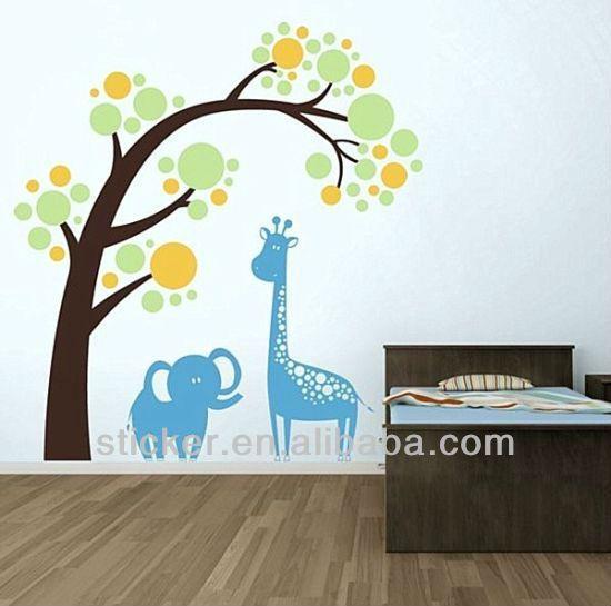 Respetuoso del medio ambiente reutilizable decorativo árbol pegatinas de pared para niños