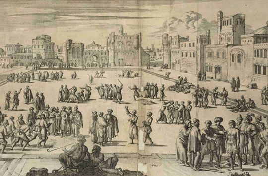 """Slavery in North Africa – the Famous Story of Captain James Riley   The Public Domain Review """"Detail of an illustration of a slave market in Algiers from Pierre Dan's Historie van Barbaryen en des zelfs Zee-Roovers (Amsterdam, 1684)"""""""