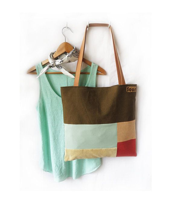 Otherwise Wild // Khaki Brown, Seafoam Green, Coral and Beige Corduroy, Tote Bag, Handmade, Recycled Fabric