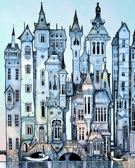 Dusk Victorian City Skyline Art print - Fantasy Wall Art Print  - PRINT  - blue - silver - twilight  - Fairy Tale Art by the Filigree