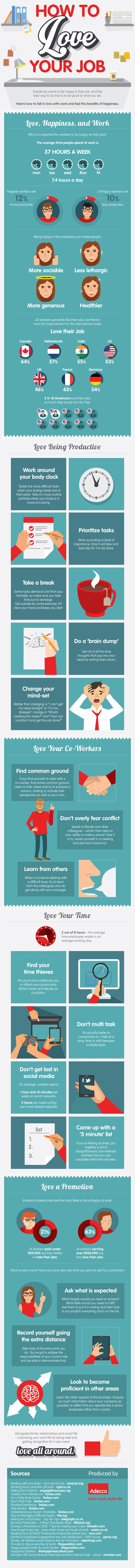 How to Love Your Job (infographic) - Delivering Happiness by Adecco #ilovemyjob
