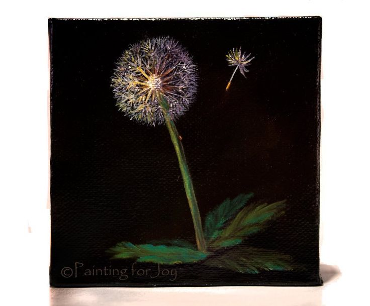 """""""Dandelion Seeds"""" Miniature 4""""x4"""" original oil painting. This 4""""x4"""" original oil painting on 2"""" gallery wrapped box canvas is sure to delight any nature lover! The meaning of a weed is any flower that grows where you don't want it to. I think Dandelions are sweet little flowers. You can even eat the leaves in a salad! So why not embrace this little """"weed""""? The back of the painting is enclosed with wood and has a hole for hanging. The sides are painted black. You don't have to worry about..."""