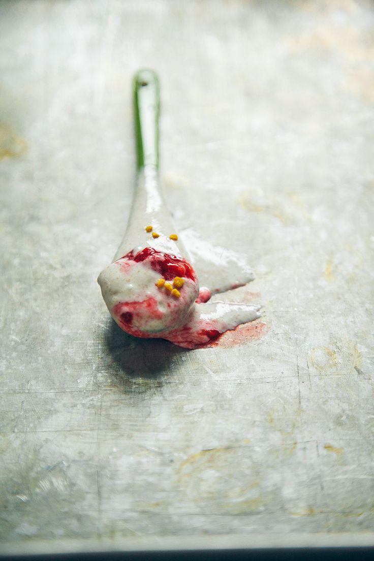 vanilla coconut whipped chia mousse w/ tart raspberries + bee pollen