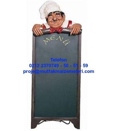 Menü Mankenleri Menü Tahtaları : Aşçılı Menü Tahtası-Aşçılı menü tahtası AAH02: Menü tahtaları bölümündeki bu ayaklı aşçılı menü tahtası haricinde; pizzacılı menü tahtası müşterili menü tahtası garsonlu menü tahtası düz menü tahtası çiftli menü tahtası şişman aşçı heykelli menü tahtası heykel menü mankeni modelleri vardır. Aşçılı menü tahtası çeşitleri aşçılı menü tahtası satışı için arayınız 0212 2370749
