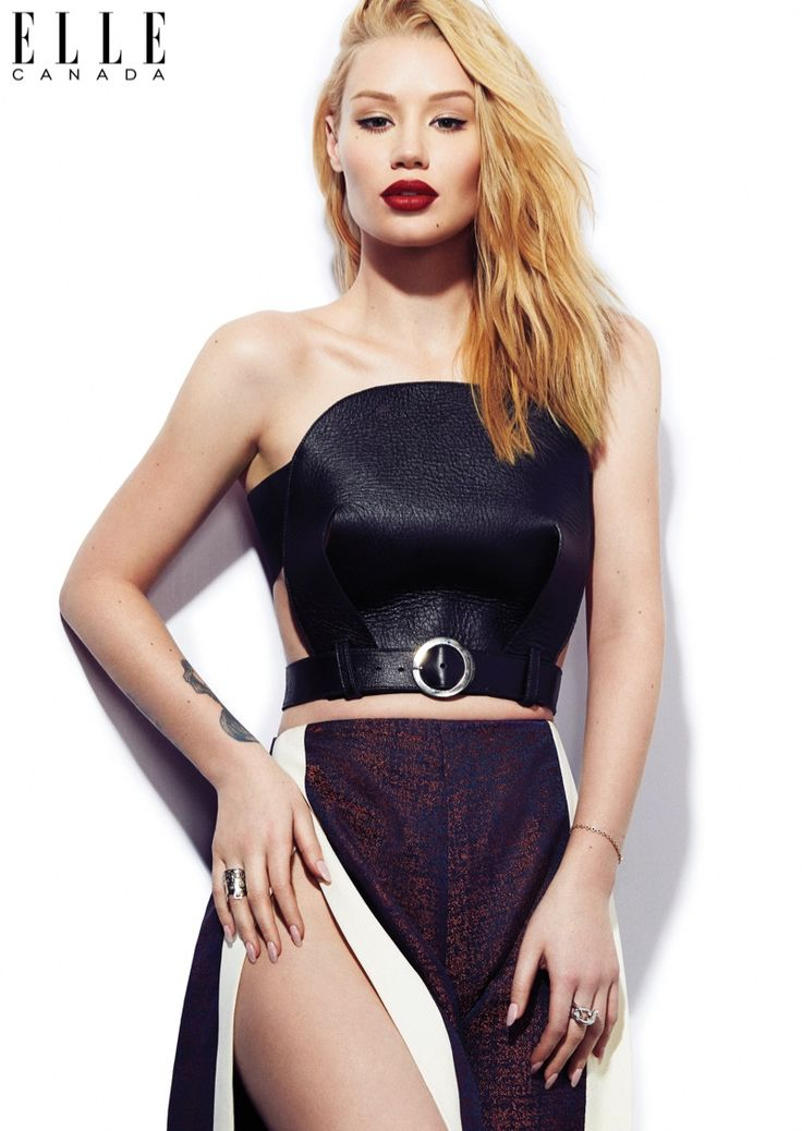 Iggy Azalea wears a strapless crop top and skirt with high slit for ELLE Canada Magazine April 2016 issue
